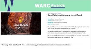 "STC wins WARC Special Long Term Idea Award plus Gold for ""Unveil Saudi"" by J. Walter Thompson"